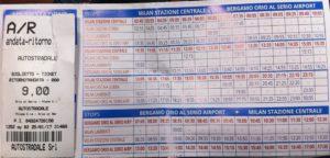 Фото билета Бергамо - Милан. Расписание автобусов